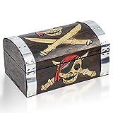Brynnberg Schatztruhe 28x17x14cm Holztruhe Schatzkiste Vintage-Look Piraten Schatzsuche Holz massiv braun Kolonialstil Schatulle Bauernkasse Holz Piratentruhe Geldtruhe