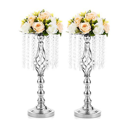 Nuptio 2 Stück 49cm Höhe Hochzeit Party Blumenständer mit Kristall Teardrop, Metall Hochzeit Dekorationen Parteien Event Esstisch Dekoration, Silber