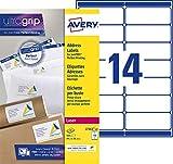 Avery L7163-40 Boîte de 560 Etiquettes Autocollantes (14 par Feuille) - 99,1x38,1mm - Impression Laser - Blanc