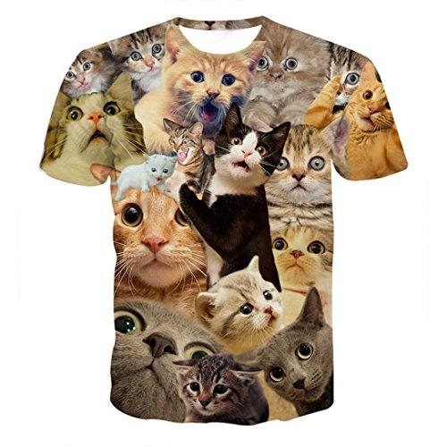 be2ed883e01e friendG Funny Boys Men Trend Short Sleeve T Shirt 3D Kitty Cat Print Summer  Tees Super