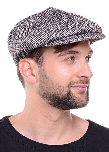 Feinzwirn Oscar - Gatsby Schiebermütze Flatcap im 30iger Jahre Design und Melangemuster - Schirmmütze Flatcap (Black/White S-M)