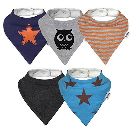 Lovjoy Bandana Baby Halstuch Lätzchen, Dreieckstucher, Für 0-3 Jahre, 5er Pack (Städtisch Stern)  - Für Baby Bandana-lätzchen