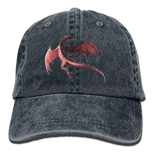 Riverrun Flux Men&Women Dragon Red Adjustable Vintage Washed Denim Cotton Dad Hat Baseball Hat Natural -