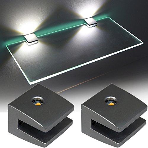 Glasbodenhalter mit LED 3-Seiten Glasbodenbeleuchtung / Art. 2460-2 / 2-er Set mit Trafo /Glaskantenleuchten / Halter / Glasregal / Glasbodenträger / Regalbodenträger / Regalträger