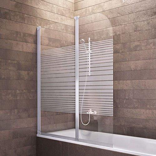 Schulte Duschwand Köln, 114x140 cm, 3 mm Sicherheitsglas Querstreifen, alu-natur, Duschabtrennung für Badewanne
