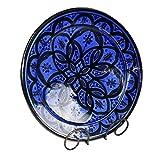 Simandra Orientalischer Keramik Teller handbemalt marokkanische Keramikschüssel Wandteller mittel Color Blau