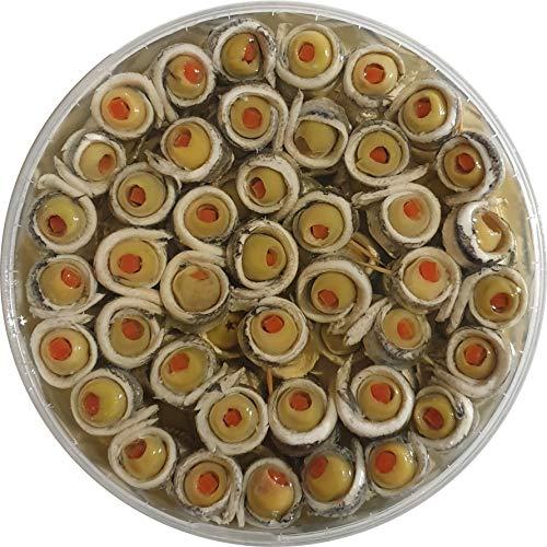 Food-United Sardellen-Spießchen-Filets aufgewickelt gerollt mit Oliven Happen 2 Röllchen pro Spieß 600g handgewickelt Premium Qualität ohne Konservierungsstoffe Oliven gefüllt mit Paprika Fisch