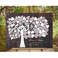 50x40 cm Lienzo Wedding tree guest book Efecto de madera 3D Árbol de la boda | libro de visitas | Huella Dactilar Libro de visitas | Libros de firmas para bodas únicas
