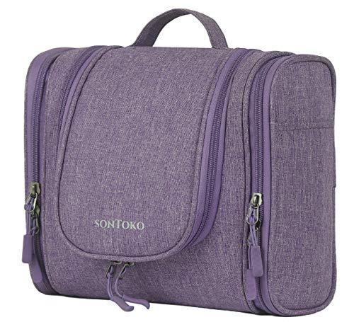 SONTOKO Kompakter Kulturbeutel zum Aufhängen | Reise-Kulturtasche für Männer & Frauen - Stabile & Wasserresistente Kosmetiktasche (Canvas Optik Violett)