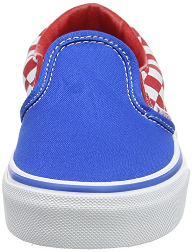 Vans Uy Classic Slip-On, Scarpe da Ginnastica Basse Bambino Blu (Checkerboard Racing Red/imperial Blue)