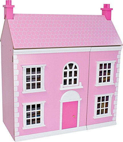 Wooden 3 Storey Dolls House - Pink.