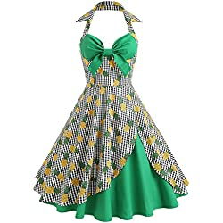 iBaste Mujer Vintage Vestidos Hepburn años 50 Rockabilly Estampado de Piña Cóctel Fiesta Cabestro Vestido