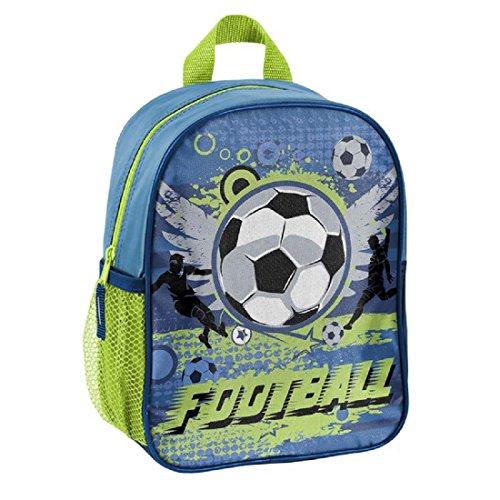 Fußball-mädchen-rucksack (Fussball Soccer Kindergartenrucksack Kinderrucksack für Jungen und Mädchen (303X) mit Hauptfach und Getränkenetz, 28x22x10 cm, blau/grün)