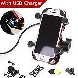 Goodway universal Supporto Moto Porta Cellulare Smartphone Sostegno con caricatore USB Rotazione a 360 ° impermeabile anti-shock per iPhone Samsung GPS ATV Scooter