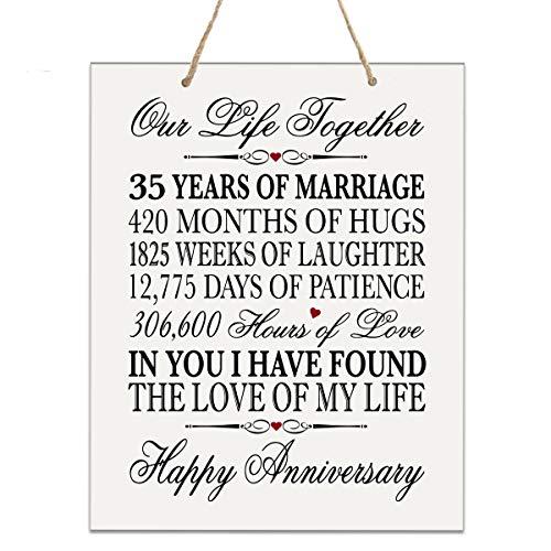 LifeSong Gedenktafel zum 35. Hochzeitstag, Blumen-Design, 35 Jahre Hochzeit, Andenken für Eltern, Ehemann, Ehefrau, Ihn - Our Life Together 12 X 15 Rope Sign