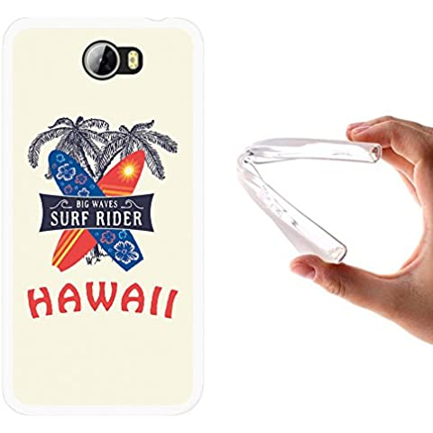Funda Huawei Y5 II, WoowCase [ Huawei Y5 II ] Funda Silicona Gel Flexible Hawaii Big Waves Surf Rider, Carcasa Case TPU