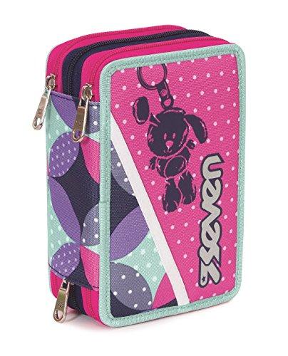 Estuche Escolar 3 Pisos – Seven – Bunny – Multi Compartimentos con lápiz, rotuladores, boligrafos… Azul Rosa