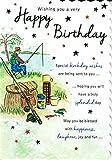Atemberaubende Wert Offene Happy Birthday Karte für Stecker. Angeln Szene