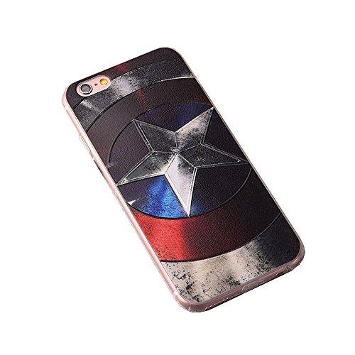 Apple Cover in Silicone TPU Case Cover TPU Gel Silicone Copertura Tacsa Custodia Caso Cover per iPhone 7 plus ( 5.5)orso Capitano degli Stati Uniti