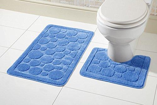 Bubble Bath Set (Olivia Rocco 2-teiliges Set aus Badematte & WC-Vorleger, rutschfestes Badezimmer-Set, Cali Bubbles, blau, Bath Mat 50 x 80 cm, Pedestal Mat 50 x 50 cm)