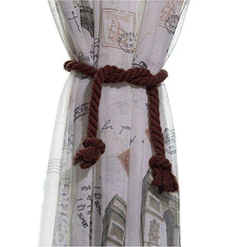EleCharm 1Paar American Landschaft Baumwolle Vorhang Seil Handgefertigt Dekorative Seil Raffhalter Dark Coffee -