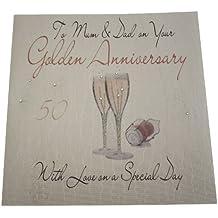 White cotton cards XLWA40M - Biglietto di auguri realizzato a mano, per 50° anniversario di nozze (nozze d'oro), per mamma e papà, con flûtes di champagne [lingua inglese]