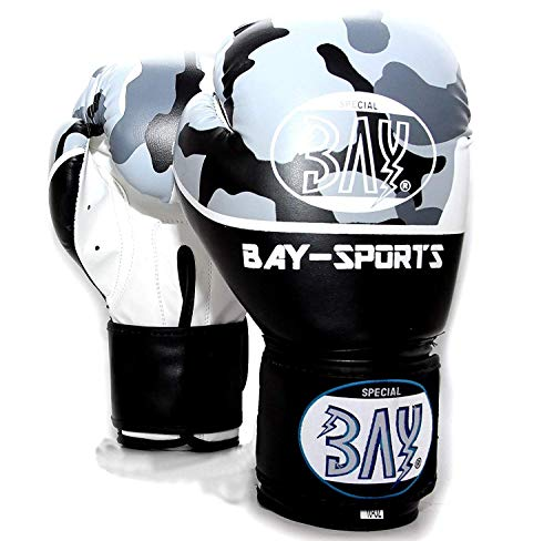 Bay Leder Tasche (BAY® Camouflage Boxhandschuhe 8 Unzen Box-Handschuhe Leder PU Bundeswehr Militär Military Army Urman schwarz weiß Tarnfarbe Kickboxen Kick Boxen Boxing MMA Muay Thai Thaiboxen (8 Unzen))