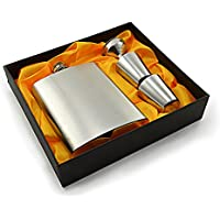 Hochwertiger Flachmann aus Edelstahl mit Einfülltrichter und zwei Trinkbechern / Stamper / Stamperl, in sehr schöner Geschenkbox, mit Schraubverschlussdeckel, Flachmann-Set, Taschenflasche, Trinkflasche - Marke Ganzoo