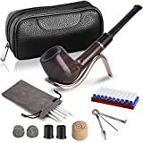 DIMJ Billard Holzpfeife Set mit Lederpfeife Tasche, Faltbare Holz Tabakpfeifen halter, 3-in-1-Stopfer und andere Pfeifenzubehör