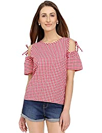 Women Top Ghingham Red Cold Shoulder