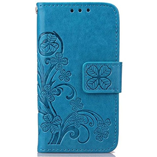sibaina Apple iPhone 4/4S Motif papillon, souple, FIN en cuir PU étui de protection avec fonction support & Emplacements pour carte de crédit, portable, Coque Étui portefeuille à rabat avec stylet et  bleu