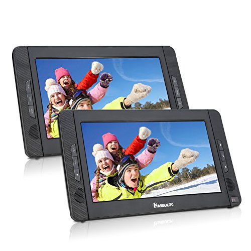 NAVISKAUTO Twin Screens 10.1 Inch Portable DVD Player with Monitor LED Wide View Screen,Built-in Real 5 Hours Battery ,Support USB SD MP3/CD