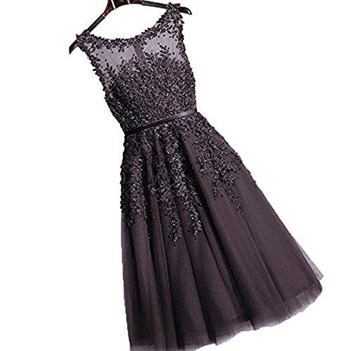 Damen Elegant Herzform Tüll Hochzeitskleid Spitze Brautjungfernkleid Applique Kurz Schwarz 44
