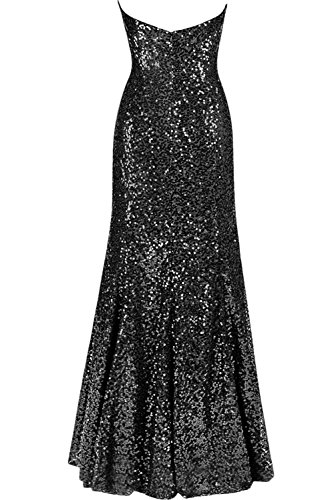 Sunvary Elegant Neu Herzform Paillette Meerjungfrau Paillette Abendkleider Lang Ballkleider Promkleider Weinrot