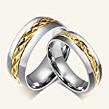 Daesar Frauen Verlobungsringe Edelstahl Ring Für Paar Silber Gold Ringe Weizen Streifen Größe 49 (15.6)