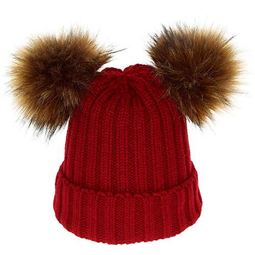 (TPulling Bunte Witzige Weihnachten Deko Schneemann Rentier Mother & Me Baby-Kleinkindkappen-Bälle Warmer Abnehmbarer Kupferknopf-Verdickungs-Hut)