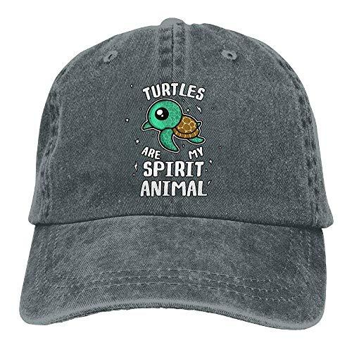 UUOnly Männer Frauen Verstellbare Baumwoll Denim Baseball Caps Schildkröten sind Mein Geist Tier Papa Hut (Schildkröte-baseball-cap)
