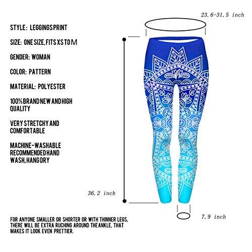 CHIC DIARY Damen bunt Sport Strumpfhose Leggings mit muster Fitness Yoga Joggen Pants Hose Mehrfarbig One size dunkelblau-Gemeiner Stechapfel Design