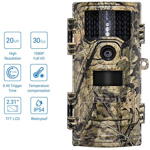 ZYSMC Wildlife Trail Camera, Hunting Video Camera 20MP 1080p 30fps Trail Kamera Farm Home Security 0.4s Trigger Time Wildlife Hidden Photo Trap