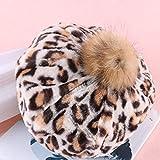 Ostern beste Geschenke !!! Beisoug Fashion Damen Mädchen Winter Warm Leopardenmuster Wild Hairball Berets Kürbis Hut Mütze (57 cm)