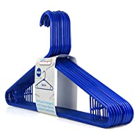 "Hangerworld Pack of 40 Blue Plastic Coat Clothes Hangers with Trouser / Skirt Bar & Loop Hooks 42cm (16"")"