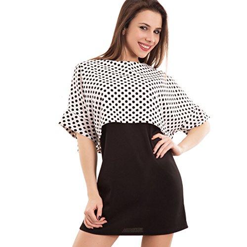 Toocool - Vestito donna miniabito tubino top corto pois abito elasticizzato nuovo CC-1326 base bianco