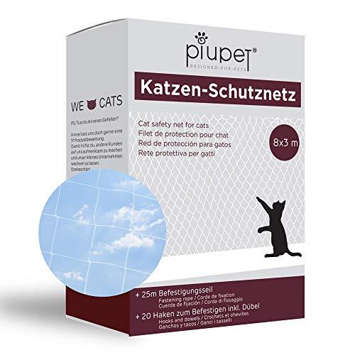 PiuPet Katzennetz 8x3m transparent - Balkonnetz ideal für Deine Katze - Katzennetz für Balkon inkl. 20 Kabelbinder & 25m Befestigungsseil