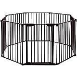 COSTWAY Barrière de Sécurité Enfant Clôture de Cheminée en Fer Pare-Feu de Cheminée8 Pans 500x75cm Noir (Noir)