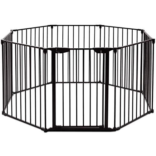 COSTWAY Barrera de Seguridad para Chimenea Reja de Protección para Niño Metal Plegable Seguridad para Puerta Escalera 5M (Negro)