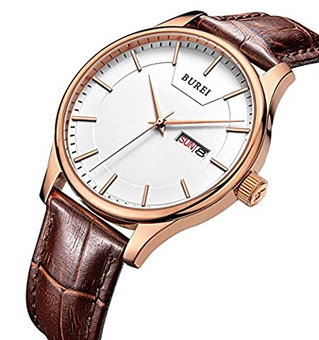 BUREI Men's Precise Quartz Wrist Watches with Day and Date Calendar Rose Gold Hands Brown Leather