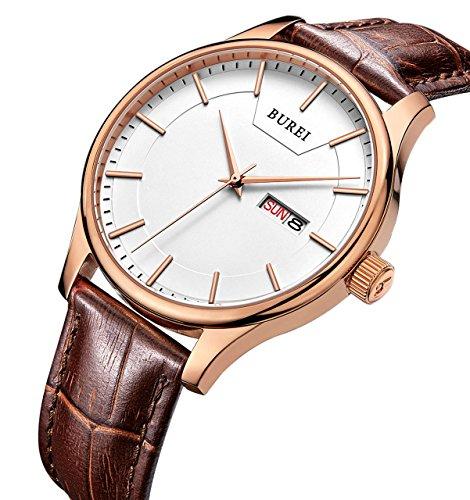 BUREI Herren Quarz Roségold Armbanduhr Weißes Ziffernblatt mit Tages und Datumsanzeige Braun Echtes Lederband