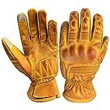 Prime All Season Motorrad Sport Racing Kevlar gewachst Leder Handschuhe mit I Touch Finger 9008(9008-tan, XL)
