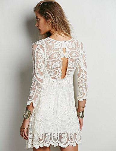 ZEARO Sommer Sexy Spitze Sommerkleid Rückenfrei Strand Partykleid Weiß