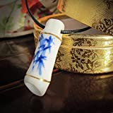 WJCGX Creative Keramik Halskette Anhänger Einzigartige Männerschmuck Hand Bemalt Blau Und Weiß Floral Memory Bamboo Series